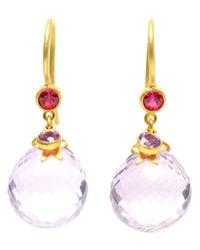 Marie-hélène De Taillac Moon Star 18k Yellow Gold Amethyst Earrings