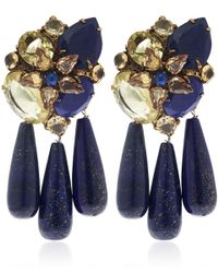 Iradj Moini - Blue Lapis Lazuli And Citrine Three Drop Earrings - Lyst