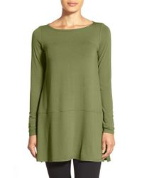 Eileen Fisher | Green Long Bateau Neck Jersey Top | Lyst