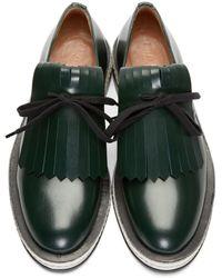 Marni - Green Leather Fringed Derbys for Men - Lyst