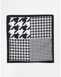 ASOS - Black 4-way Pocket Square With Dogstooth Print for Men - Lyst