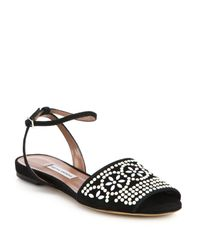 Tabitha Simmons | Black Beaded Flat Suede Sandals | Lyst