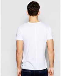 Replay T-shirt Wide Neck Laser Cut In White for men