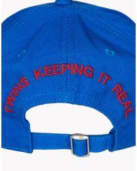 DSquared² - Blue Embroidered Garbadine Baseball Cap for Men - Lyst