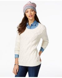 Tommy Hilfiger - White Cable-knit Sweater & Pom-pom Hat Gift Set - Lyst