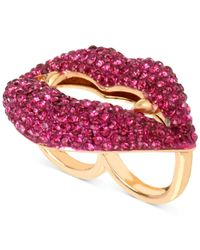 Betsey Johnson - Gold-tone Pink Pavé Vampire Lips Double Ring - Lyst