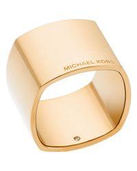 Michael Kors Metallic Etched Logo Band Ring