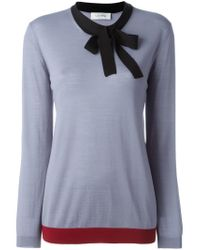 Valentino - Blue Bow Detail Sweater - Lyst