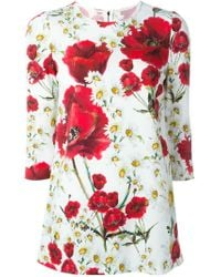 Dolce & Gabbana White Daisy And Poppy Print Blouse