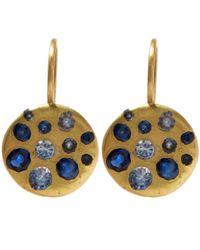Polly Wales - Metallic Gold Crystal Disc Blue Sapphire Hook Earrings - Lyst