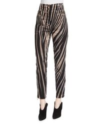 Roberto Cavalli Multicolor High-waist Zebra-print Ankle Pants