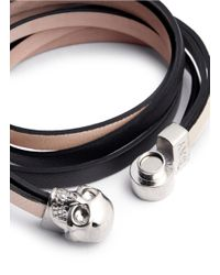 Alexander McQueen Pink Triple Strap Skull Leather Bracelet
