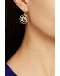 Ileana Makri Metallic Geometry 18-Karat Gold Diamond Earrings