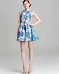 Alice + Olivia Blue Alice Olivia Dress Foss Floral Jacquard