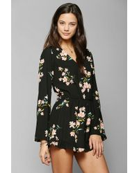 391c8d42256c Lyst - Pins And Needles Silky Ruffle-Short Romper