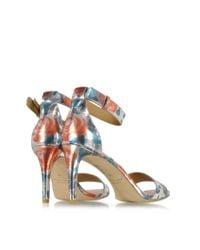 Marc By Marc Jacobs - Blue Jerrie Rose Specchio Persimmon Orange Leather Sandal Heel - Lyst