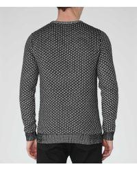 Reiss | Black Bruge Weave Cotton Jumper for Men | Lyst