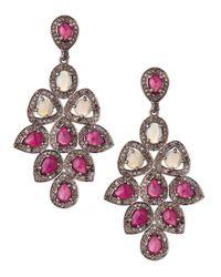 Bavna | Pink Opal Ruby Diamond Chandelier Earrings | Lyst