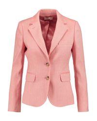 Tory Burch Pink Claudia Linen And Cotton-blend Blazer