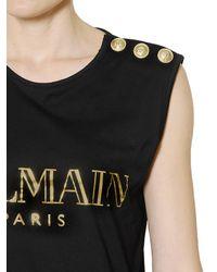 Balmain Black Logo Printed Cotton T-shirt
