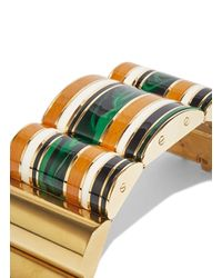 Lanvin - Metallic Striped Gold Cuff Bracelet - Lyst