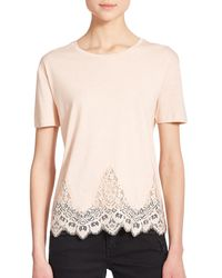 The Kooples | Natural Lace-trim Jersey Tee | Lyst