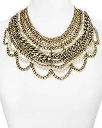 BaubleBar Metallic Imitation Pearl Courtney Bib Necklace, 17""