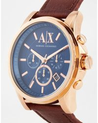 Armani Exchange   Metallic Chronograph Watch With Leather Strap Ax2508 for Men   Lyst