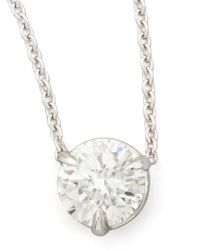 Neiman Marcus - 18K White Gold Diamond Solitaire Pendant Necklace - Lyst