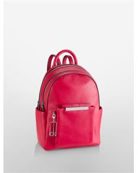 Calvin Klein | Red Kenner Leather Double Zip Studio Backpack | Lyst