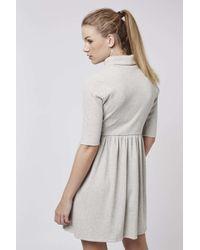 TOPSHOP - Gray Roll-neck Skater Dress - Lyst