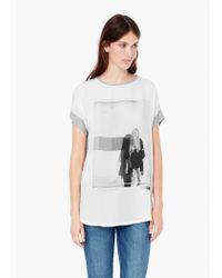 Mango - Gray Printed T-shirt - Lyst