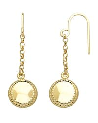 Lord & Taylor | Metallic 14kt. Yellow Gold Puffed Drop Earrings | Lyst