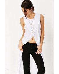 Truly Madly Deeply White Crossover High/low Muscle Tank Top