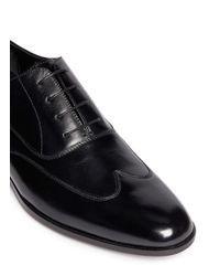 Artigiano - Black Wingtip Leather Oxfords for Men - Lyst