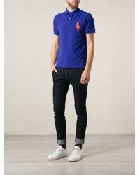 Polo Ralph Lauren Blue Oversized Logo Slim Fit Polo Shirt for men