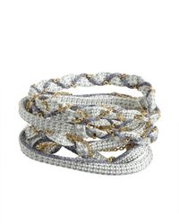 Sogoli - Baby Blue And Cobalt Woven Fabric And Chain Convertible Wrap Bracelet - Lyst