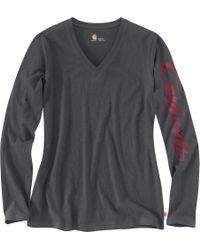 Carhartt - Gray Wellton Graphic V-neck Long Sleeve Shirt - Lyst