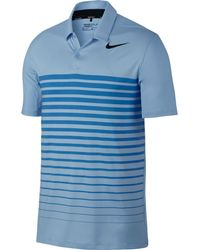 Nike - Blue Dry Heather Stripe Golf Polo for Men - Lyst