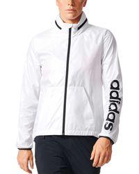 Adidas White Linear Windbreaker