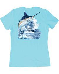 Guy Harvey Blue Marlin Boat T-shirt