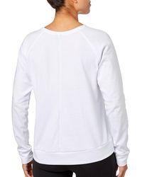 Reebok White Mesh Back Jersey Crewneck Sweatshirt