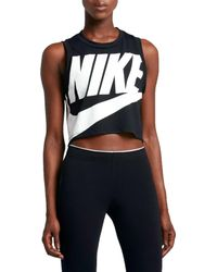 Nike - Black Sportswear Essential Cropped Tank Top - Lyst