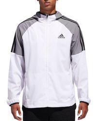 Adidas Gray Sport Id 3-stripe Windbreaker Jacket for men