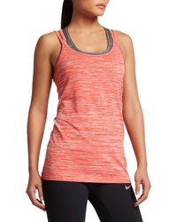 Nike Orange Dri-fit Knit Running Tank Top