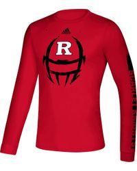 Adidas Red Rutgers Scarlet Knights Scarlet Locker Football Long Sleeve T-shirt for men