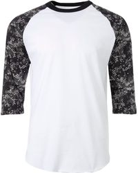 Adidas White Triple Stripe Printed 3⁄4 Sleeve Practice Shirt for men