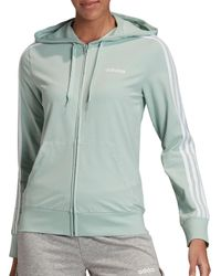 Adidas Green Essentials 3-stripes Jersey Full Zip Hoodie