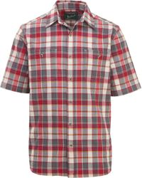 Woolrich Red Midway Yarn Dye Short Sleeve Shirt for men
