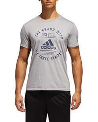 Adidas - Gray Adge Of Sport Emblem Tee for Men - Lyst